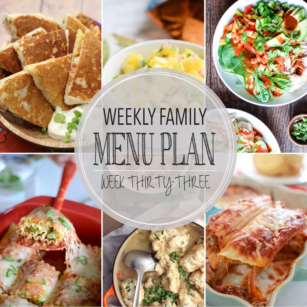 Weekly Family Menu Plan – Week Thirty-Three