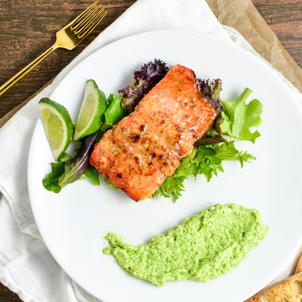 Oven Roasted Salmon with Spring Pea Parmesan Puree