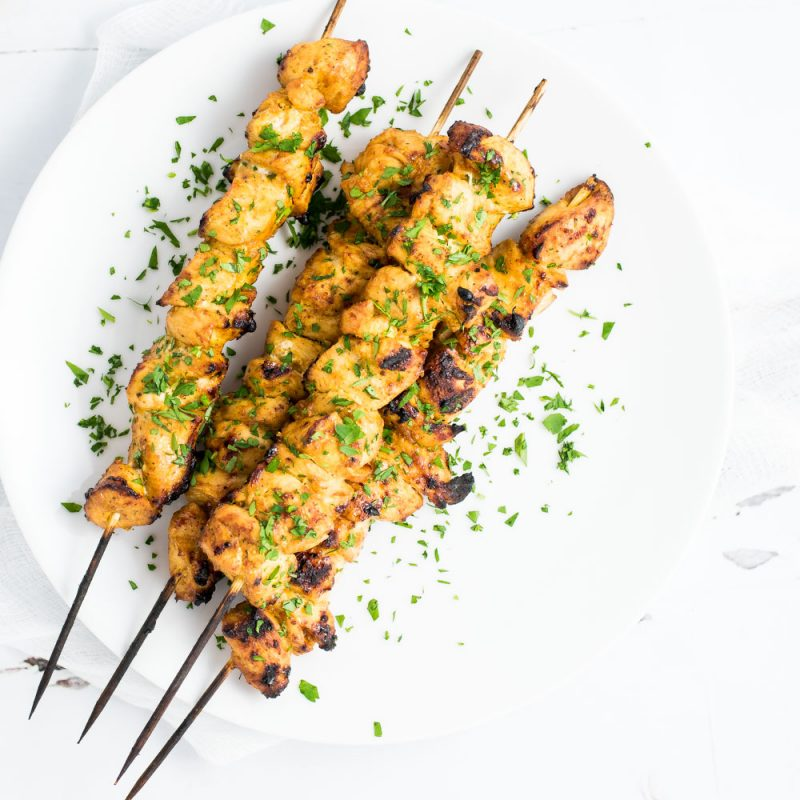 Grilled Mango Curry Chicken Skewers