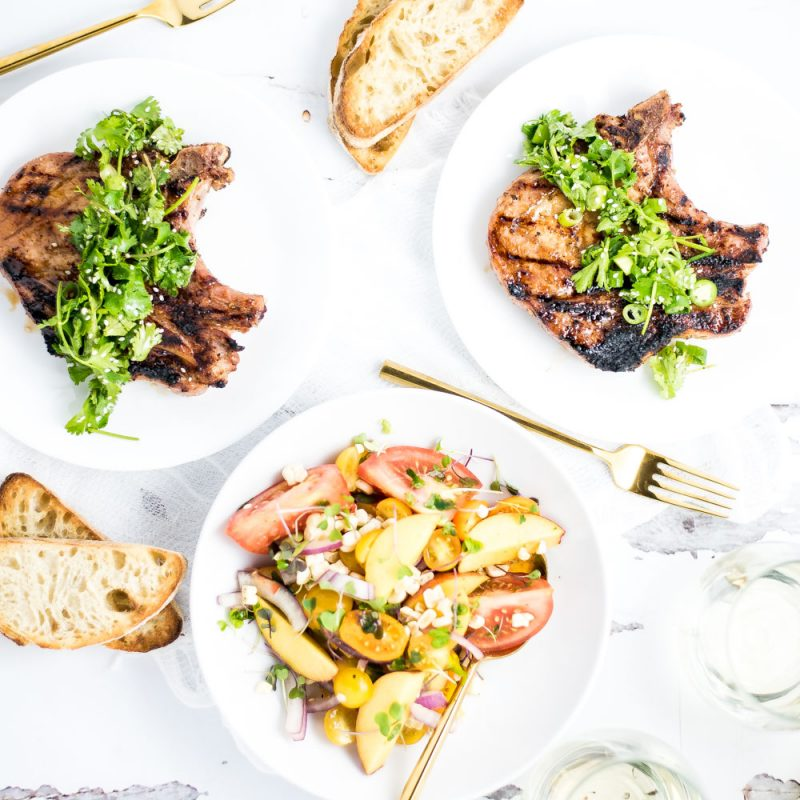 Grilled Pork Chops with Tomato and Peach Salad