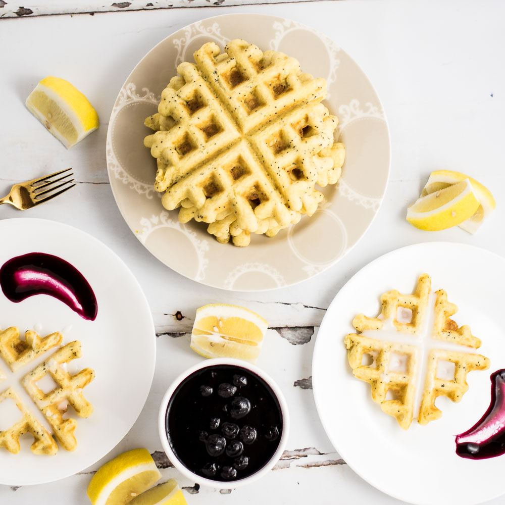 Lemon Poppy Seed Waffles with Blueberry Sauce