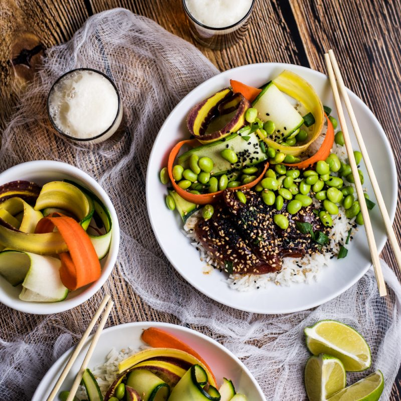 Ahi Poke Bowls with Sesame Ginger Vinaigrette
