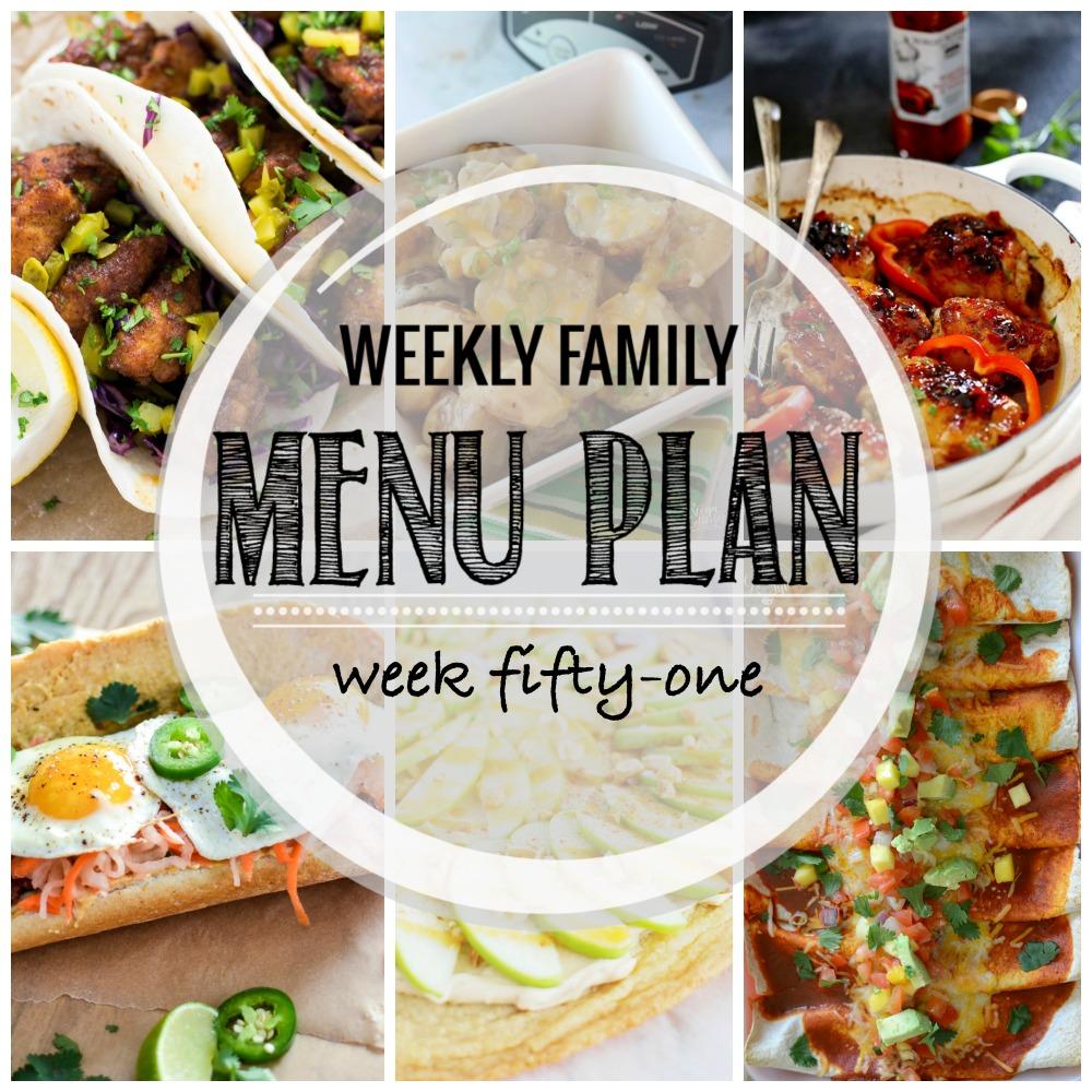 Weekly Family Menu Plan – Week Fifty-One