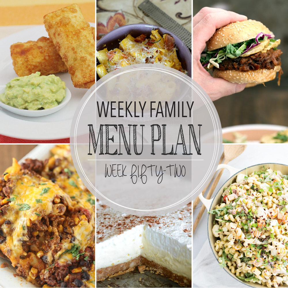 Weekly Family Menu Plan – Week Fifty-Two