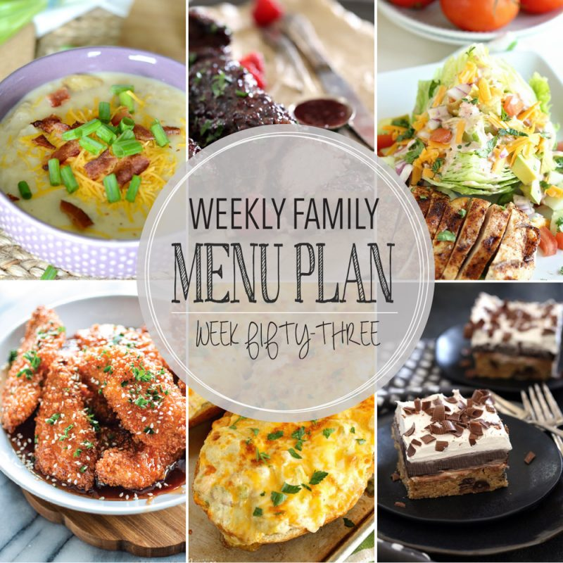Weekly Family Menu Plan – Week Fifty-Three
