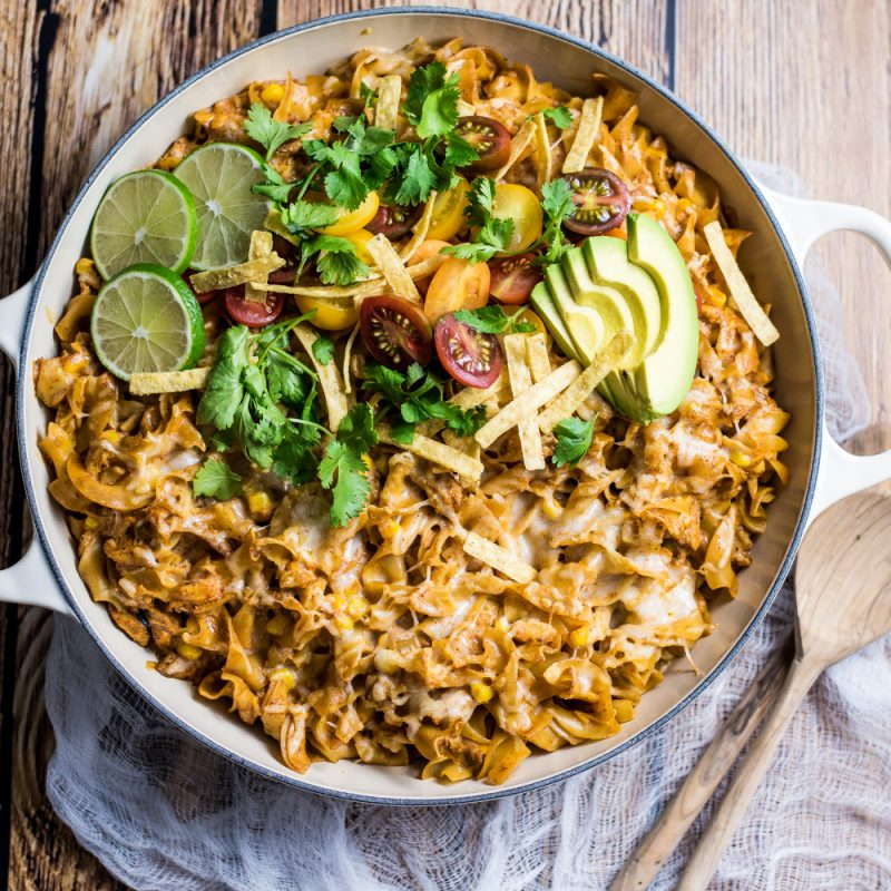 30 Minute Chicken Enchilada Pasta Bake