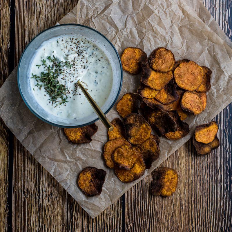 Turmeric Sweet Potato Chips with Mascarpone Dip