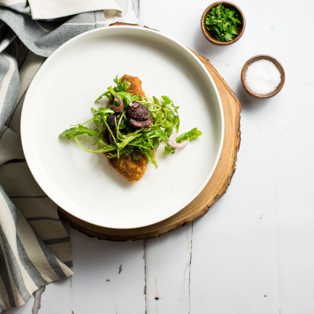 Lighter Pan-Fried Chicken Breast with Cherry and Arugula Salad