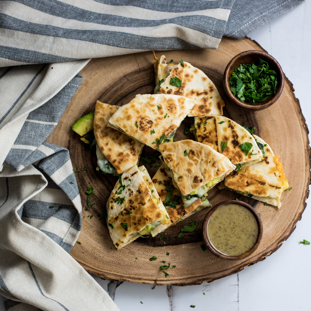 Mini Spinach and Shrimp Quesadillas with Avocado