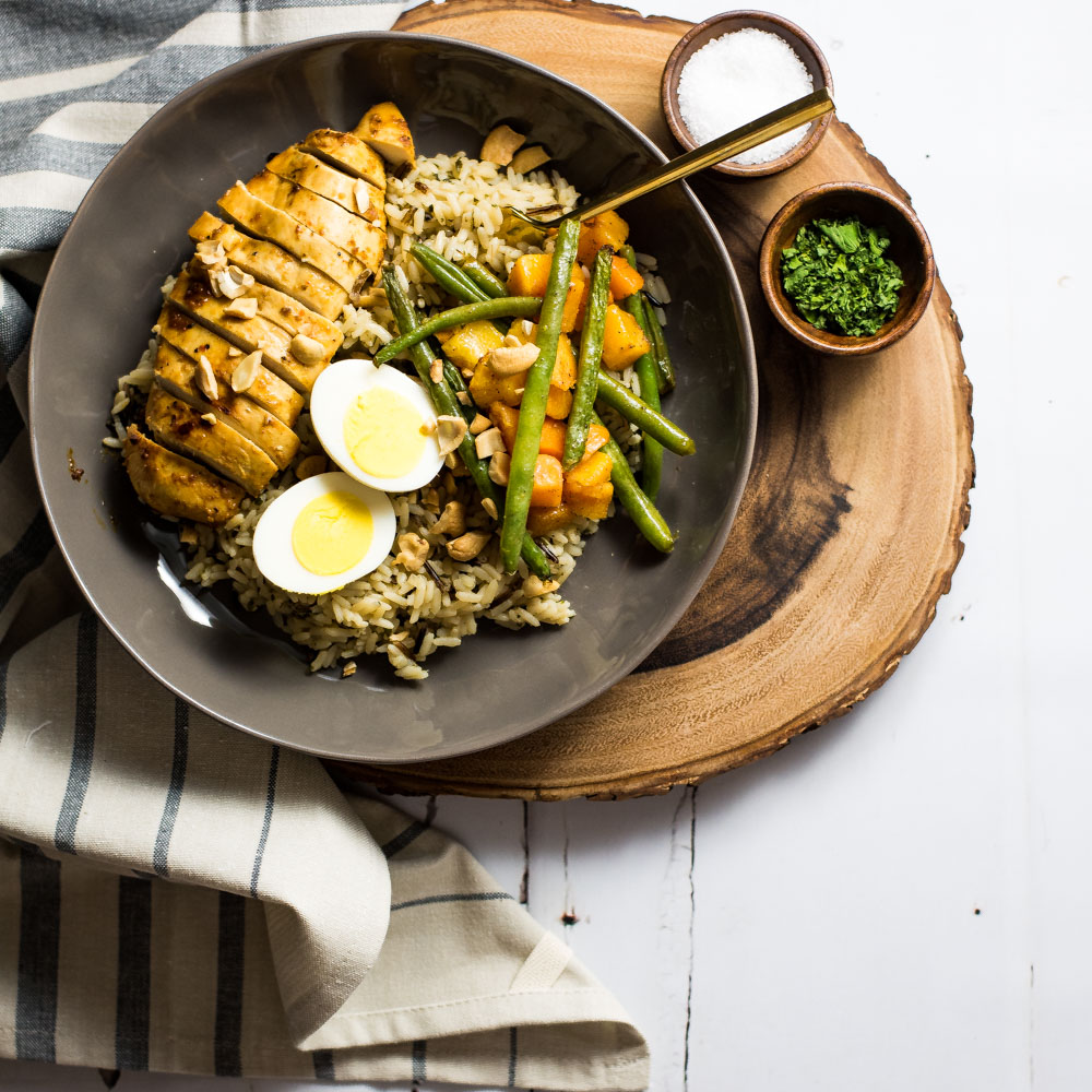 Brown Butter Rice Bowls with Marinated Chicken Breast and Roasted Veggies