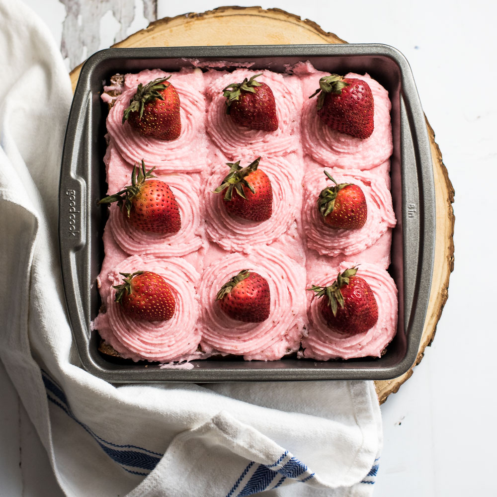 Fudgy Chocolate Stout Brownies with Strawberry Buttercream